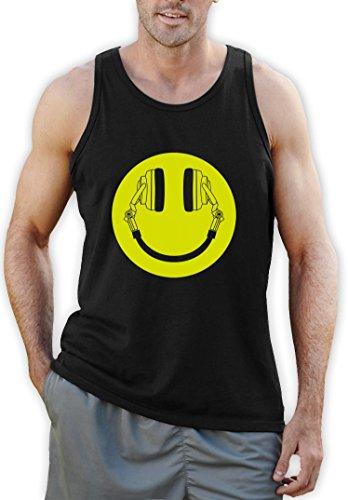 Headphone Smiley Tank Top Schwarz