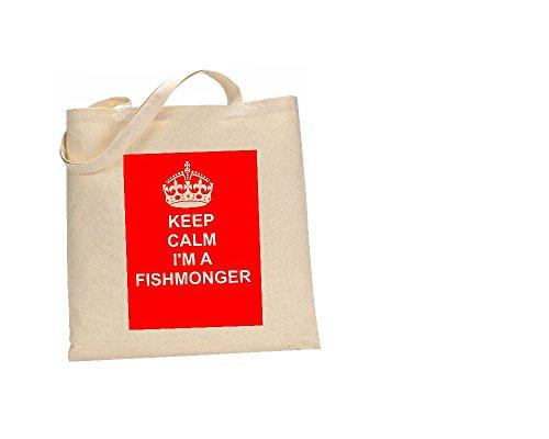 Keep Calm and Fischschere Natürliche Baumwolle Schultertasche