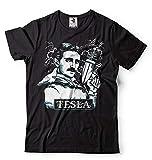 Silk Road Tees Männer Nikola Tesla T-Shirt Tesla mit elektrischer Gun lustige T-Shirt X-Large Schwarz