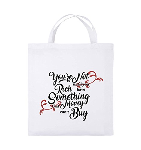 Comedy Bags - You're not rich until you have something that money can't buy - Jutebeutel - kurze Henkel - 38x42cm - Farbe: Schwarz / Weiss-Neongrün Weiss / Schwarz-Rot