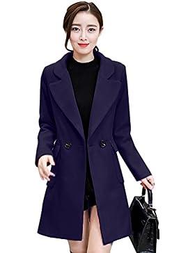 WanYang Mujer Chaqueta Solapa Manga Larga Doble Botones Coat Jacket Chaqueta Parka de Invierno