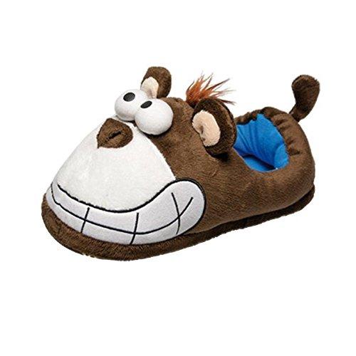 Tierhausschuhe Herren Plüsch Hausschuhe Grinse Maus Affe Elch hochwertige Pantoffel Schlappen Puschen 41-47, TH-GT Affe