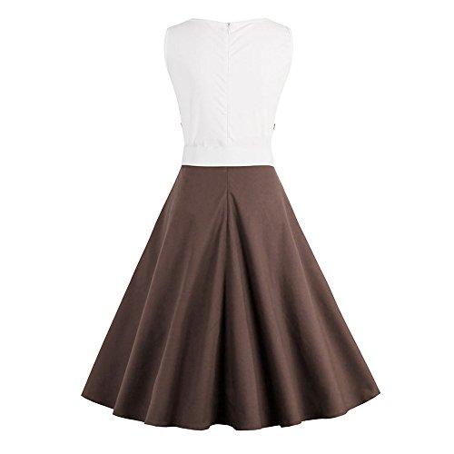 DressLily Vintage Rockabilly Swing Tea Bowknot Color Block Pinup Dress,Coffee,XL