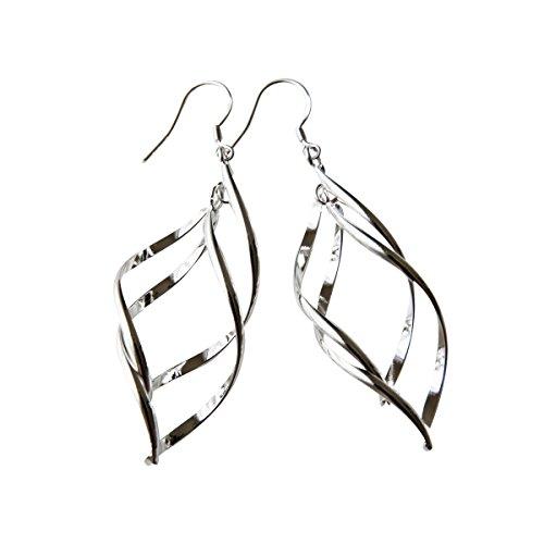 perla pd design Ohrhänger mit 2 fach gedrehten Spiralen Elementen, 925 Sterling Silber pl, Ohrringe, Damen Schmuck, Geschenk