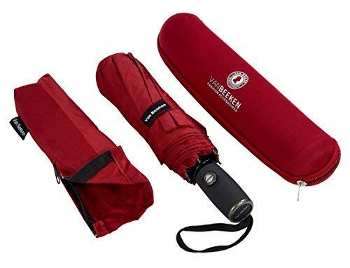 Regenschirm Taschenschirm VAN BEEKEN – windtest bei 140 km/h – inkl. Schirm-Tasche & Reise-Etui – mit Teflon-Beschichtung u. Auf-Zu-Automatik – kompakt, leicht, klein, stabil u. windsicher, Rot