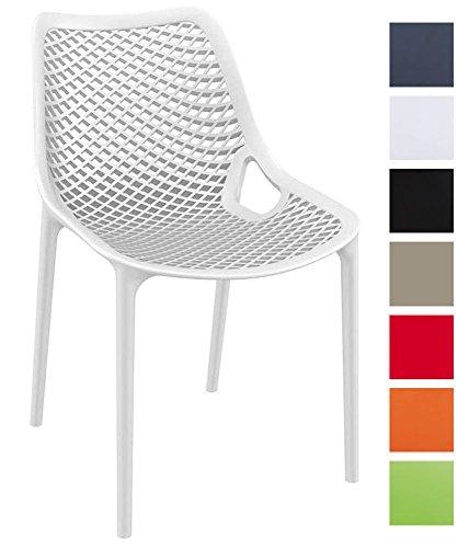 CLP XXL Bistrostuhl, Stapel-Stuhl AIR, stapelbar, max. Belastbarkeit 160 kg, Kunststoff, Sitzhöhe 44 cm, tolle Wabenoptik weiß