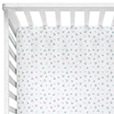 THE WHITE CRADLE 100% Pure Organic Cotton Crib Fitted Sheets for Baby - 300 Thread Woven Twill Hypoallergenic and Soft Breathable Fabric - Blue Hearts
