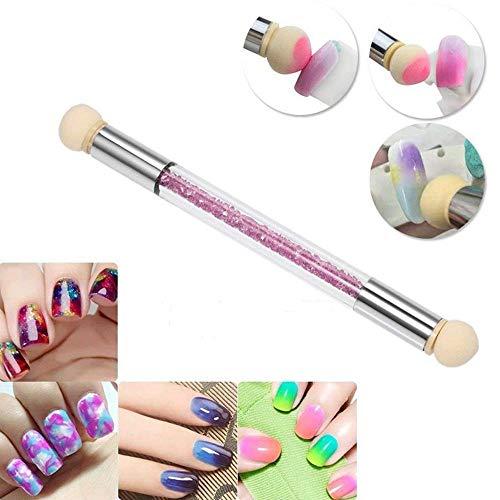 PAWACA Nail Art para mujeres doble cabeza, cepillo de uñas arte herramienta doble con 3cabeza de esponja, herramienta de manicura Decoración sobre uñas para mujer/niña