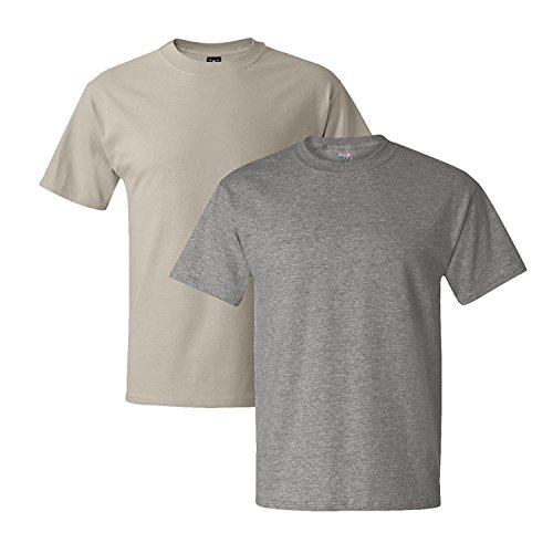 Hanes Mens 5180 Short Sleeve Beefy T 1 Oxford Gray / 1 Sand