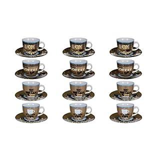 AiO-S - OK 12x Kaffeetasse mit Untertasse Set aus Porzellan 200 ml 4 Verschiedene Motive