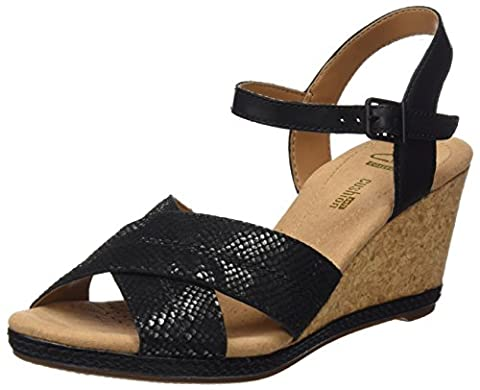 Clarks Helio Latitude, Women's Ankle Strap Sandals, Black (Black Leather), 6 UK (39.5 EU)