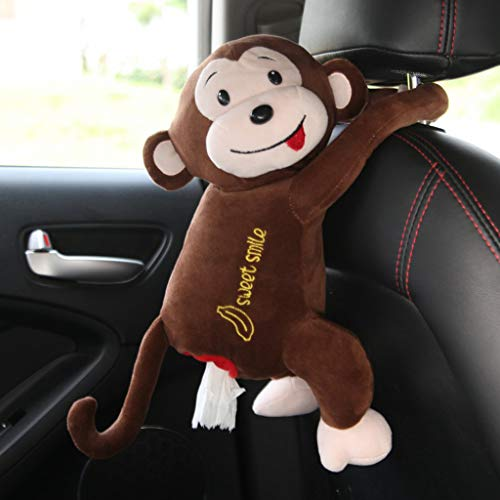 VNEIRW Cartoon Plüsch Auto Taschentuchbox, Kosmetiktücherbox für Auto, PIPI Monkey Tissue Box Hängen Puppe Taschentuchspender Papierhandtuch Pumping Tissue Box aus Weiches Plüsch (Kaffee)