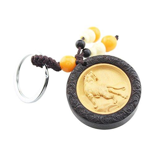 foy-mall Chinesisches Sternzeichen Serie Schlüsselanhänger Tiger Ebenholz mit Buchsbaumholz Inlay Herren Frauen KFZ Schlüssel Kette M1073 -