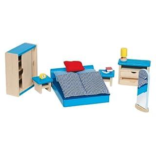 Goki 51906 - Schlafzimmer, 14-teilig, Puppenhausmöbel