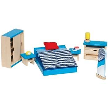 Goki - 51906 - Mobilier de chambre à coucher pour maison de poupées - 14 pièces