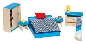 Goki 51906 - Dormitorio para casita de muñecas de 16 piezas