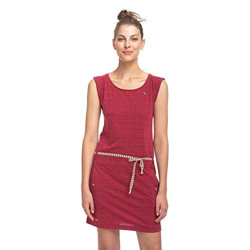 Ragwear Stoffkleid mit Streifmuster und Taillengürtel – rot - 2