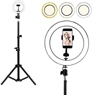 Selfie Ring Light with Tripod Stand, Womdee LED 3 Light Modes Ringlight with Cell Phone Holder, 10 inch Inner USB Selfie Rin