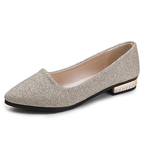 Frau Ballerinas Spitze Zehe Slip on Schuhe Pailletten Tuch Wohnungen Frauen Schuhe Gold Ferse Damen Schuhe -