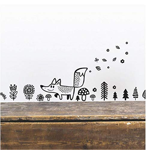 Küche, Haushalt Animals Fox Wall Decal Vinyl Wall Sticker, Woodland Decor Cartoon Fox Wall Decals Sticker For Nursery Room Kids Bedroom
