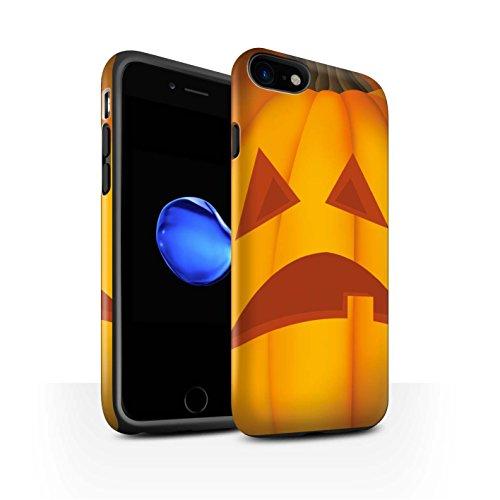 STUFF4 Matte Harten Stoßfest Hülle / Case für Apple iPhone 8 / Traurig Muster / Halloween Kürbis Kollektion Traurig