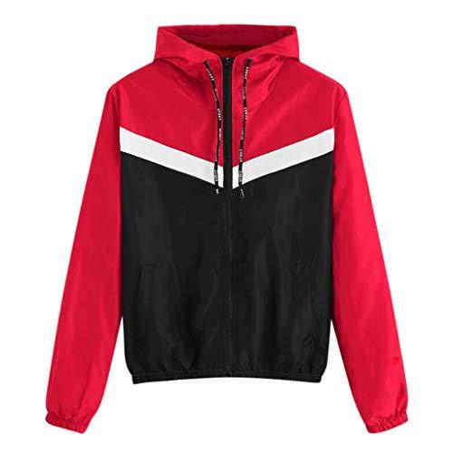 Damen Jacke Herbst Windjacke Langarm Sportjacke Trainings Jacke Frauen Patchwork Sport Mantel Cardigan Sweatshirt Kapuzenjacke Zip Mantel Reißverschluss Outwear -
