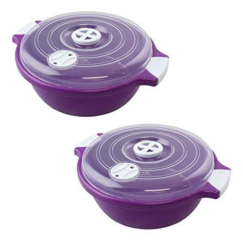 Lantelme 2 Stück Set Mikrowellenschüssel mit Deckel 1,8 Liter, Spülmaschinenfest, Kunststoff Farbe violett/weiß / transparent 4524