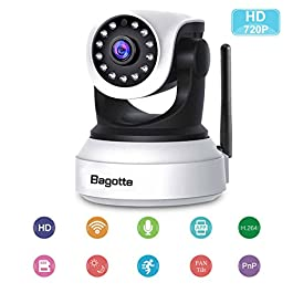 Bagotte Telecamera Wi-Fi Interno SP017 Full HD 1080P Videocamera Sorveglianza Sensore di Movimento Visione Notturna Audio Bidirezionale Wireless Telecamere IP WiFi Compatibile con iOS Android PC