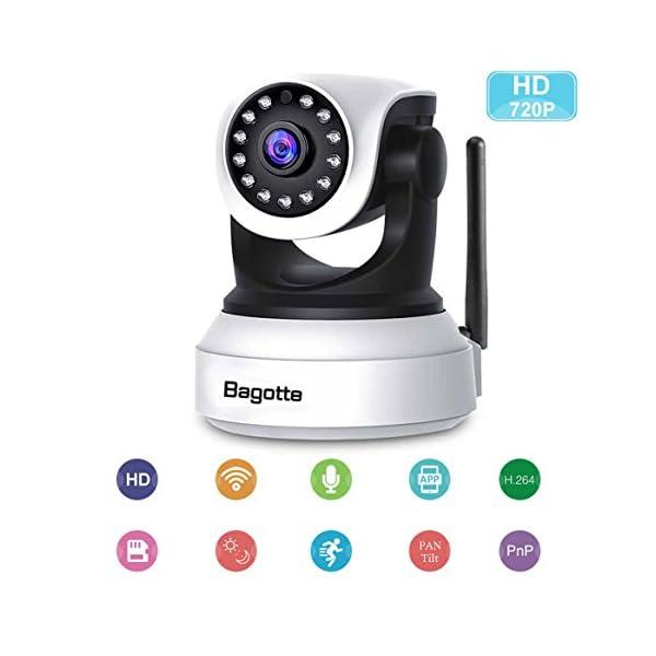 Telecamera-di-SorveglianzaBagotte-IP-Camera-720P-Wifi-P2P-PanTilt-Videocamera-di-Sicurezza-con-Sensore-di-MovimentoVisione-NotturnaMicrofono-e-Altoparlante-Per-CasaBaby-Monitor