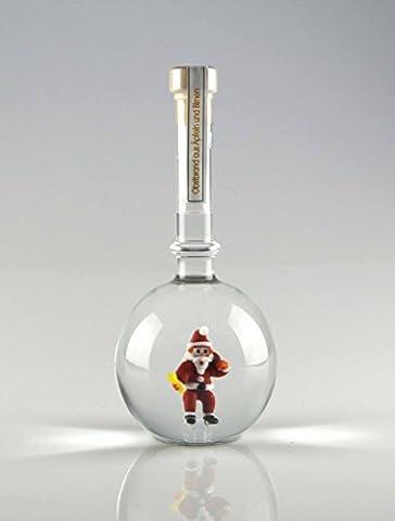 Flasche mit Nikolaus, mit Weihnachtsmann aus Glas, handgefertigt, befüllt mit 500 ml Obstbrand, eine schöne Geschenkidee zu Nikolaus und Weihnachten!