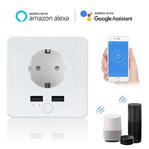 Intelligente Schuko Steckdose mit 2 X USB, Teepao Smart WLAN Steckdose (DE) Funktioniert mit IOS und Android Smartphones, mit Amazon Alexa Echo/Echo Dot/Google Home