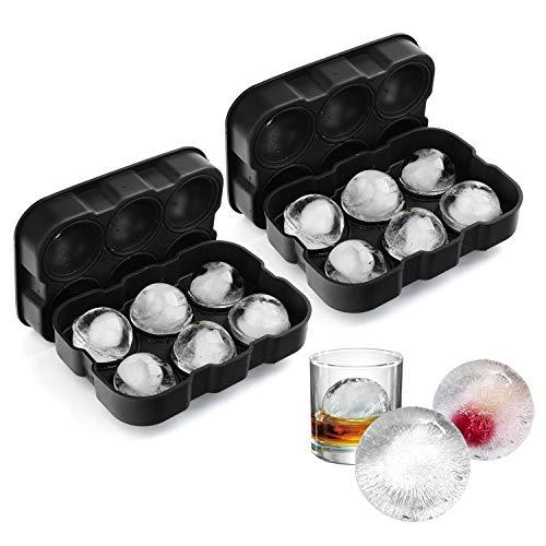 VOGEK Silikon Eiswürfelform Eiskugelform Ice Ball Mould Sphere 100% BPA Frei Eiswürfelschalen Eiswürfel mit Deckel für Whisky, Cocktails, Saft, Schokolade, Süßigkeiten, Götterspeise, -
