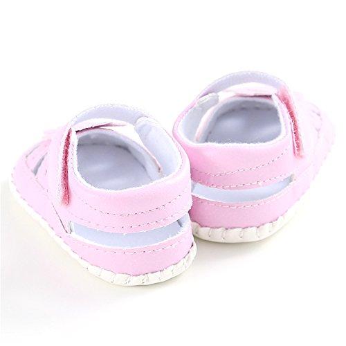 Belle Tout-petits Sandales d'Été Confortables et Antidérapant Bébé Chaussures Filles Chaussures Premiers Pas avec Fleur, 0-18 mois (Rose, S) Rose
