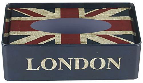 CHEZMAX Boîte à mouchoirs rétro en Papier de Soie Motif Drapeau Anglais Bleu 21,6 x 11,4 x 6,3 cm, Union Jack, 21.5 x 11.5 x 7.2cm/8.4\