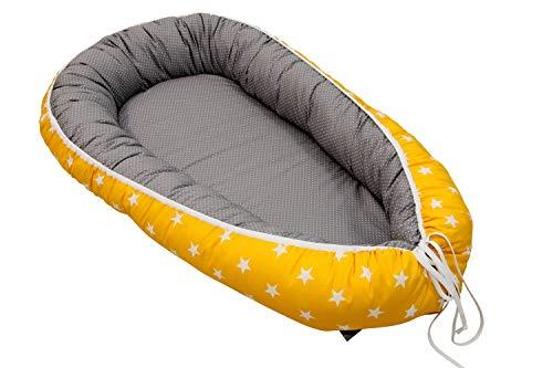 Nido para bebé de ULLENBOOM ® elefantes amarillo (nido de 55 x...