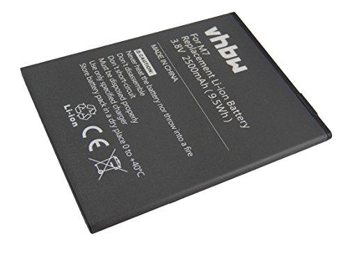 vhbw Li-Ion Akku 2500mAh (3.8V) für Handy Smartphone Telefon Timmy M7 Octa-Core-Smartphone MTK6592 wie M7.