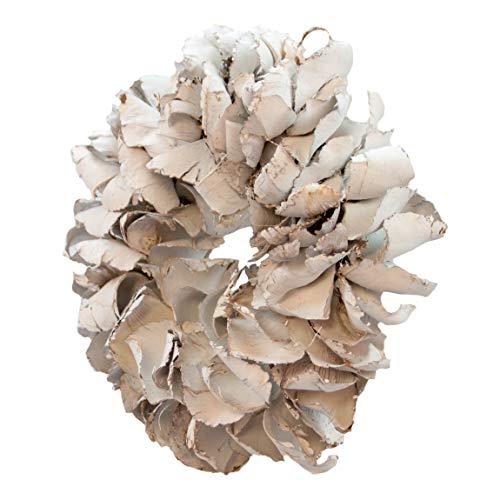 COURONNE Naturkranz Deko-Kranz groß Ø 40cm in weiß, gefertigt aus Palmblatt-Früchten. Türkranz zum hängen oder als Tischdekoration im Shabby chic Design, Zeitloses Wohnaccessoires als Natur-Deco (Weißer Kranz)