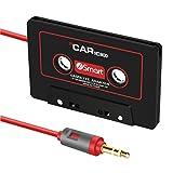 Autoec cassette per autoradio per iPhone, iPad, iPod, MP3, lettore CD radio Nano, 3metri di lunghezza cavo 3.5mm, viaggio cassetta adattatore per auto–nero