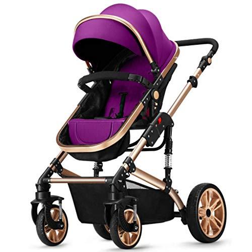 Cochecito De Bebé Recién Nacido, 2 En 1 Cochecitos De Bebé Bidireccionales Unisex Niños Pequeños Cochecitos De Niño Recién Nacidos Plegable, Toldo Ajustable, Se Puede Sentar Y Mentir Purple