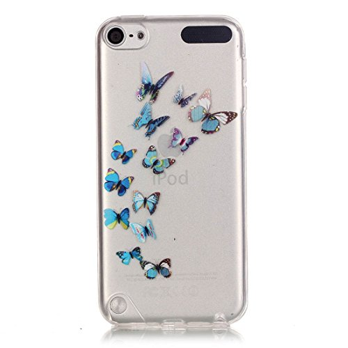 Lotuslnn iPhone 6/6S Coque (4.7 Pouce),Apple iPhone 6/6s TPU Silikon Etui Transparent Housse Cases and Covers (Coque+ Stylus Pen + Tempered Glass Protective Film)- fleurs de cerisier Bleu papillon B