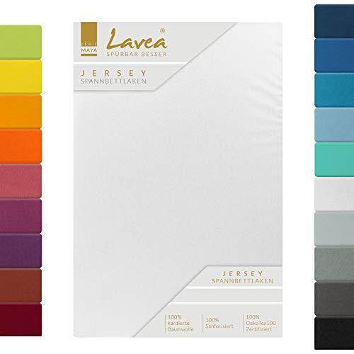 Lavea Jersey Spannbettlaken, Spannbetttuch, Serie Maya, 90x200cm   100x200cm, Weiss, 100{00bfe549a02928315bd8f9cbf954c0d60c75ab4ccd79f0c374d39b7ff0ea84a4} Baumwolle, hochwertige Verarbeitung, mit Gummizug