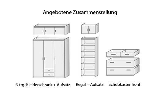 Schrank-Kombination B/H/T ca. 229/237/54 cm in weiß aus Soft Plus von CS Schmal - 3