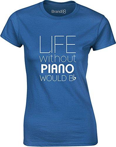 Life Without Piano Would Be Flat, Mesdames T-shirt imprimé - Bleu/Blanc