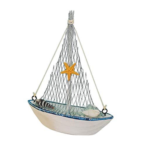 Yardwe Segelboot vorbildliche Dekoration Schiffsschmuck Mittelmeer hölzerne Schiff Segelboot Handwerk Tisch Dekoration (Hölzerne Schiffe-kits)