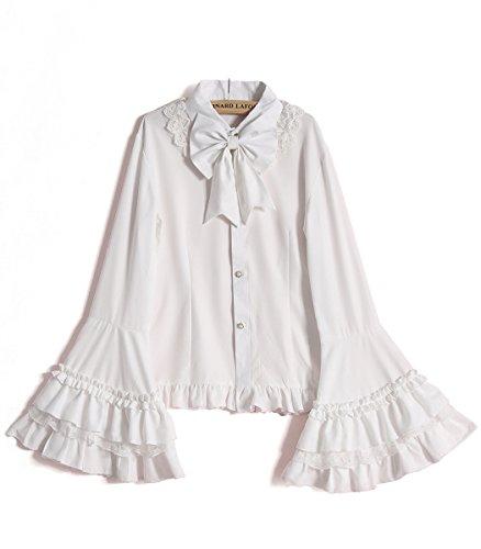 Nuoqi Damen Chiffon Bluse Princess Sweet Lolita Shirt Vintage Flare Ärmel Spitze Bogen Cosplay Kostüm weiß (Die Mittelalterlichen Kostüme Der Frauen)