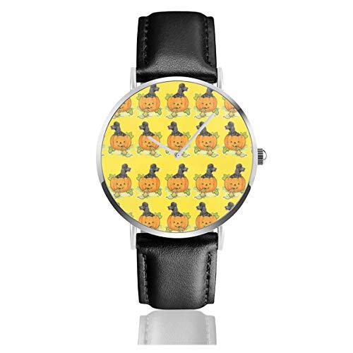 Armbanduhr Quarzuhr Halloween Kürbis Pudel Casual Uhren für Männer Frauen Damen mit schwarzem Leder Uhr