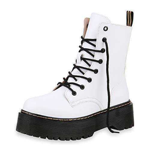 SCARPE VITA Damen Stiefeletten Worker Boots Plateau Stiefel Punk Grunge Schuhe 173730 Weiss 39