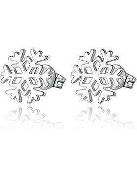 Damen Ohrstecker Silber - Fashmond Doppel Symbol Schneeflocken Blumen Creolen Ohrschmuck aus 925 Sterling Silber...