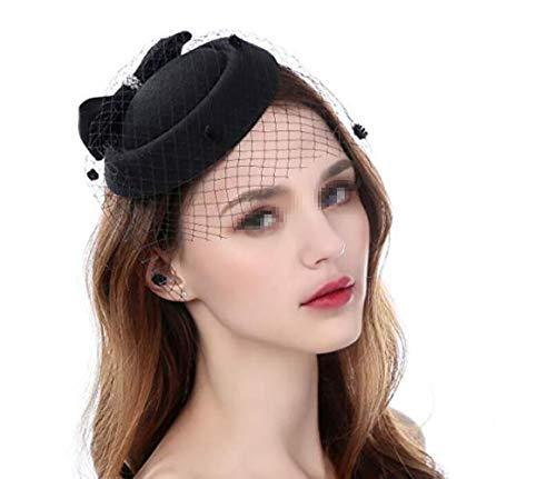 Damen-Hut mit Schleife, Derby-Hut, seitlicher Clip, Pillbox, Hut, Schleier, Stirnband, Partyhut für Mädchen und Frauen (Schwarzen Hut Mit Schleier)