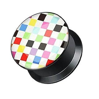 Piercingfaktor Ohr Plug Flesh Tunnel Piercing Ohrpiercing Schraub Schraubverschluß Multi Pixel 6mm
